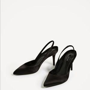 04adacbdd7bf Zara Sophisticated Slingback Satin Kitten Heels